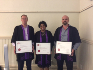 Graduating Class 2016 from left to right: Gary Board (Brosnan Construction), Jasmine Manicckam (NZTA), Gordon Inglis (Fulton Hogan)